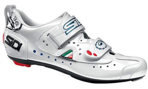 Sidi T2 Carbon Composite Triathlon Shoe in White with Lucido