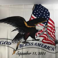God Bless America: 9-11 Memorial flag Made in U.S.A.