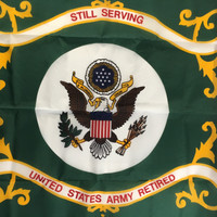 U.S. Army Retired Flag. Official crest and motto: Still Serving
