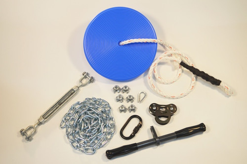 """Kit Contains: * ZLP Black Raptor Trolley * 14"""" Solid Straight Bar * Steel Locking Carabiner * Daisy Disc with Rope * 1/2"""" x 6"""" Turnbuckle * 6' Chain Sling * 6 3/16"""" Cable Clamps * 1 3/16"""" Thimble * Installation Tips Guide"""