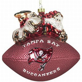 """Tampa Bay Buccaneers 5 1/2"""" Peggy Abrams Glass Football Ornament"""