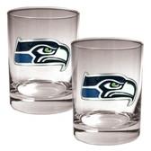 Seattle Seahawks 2pc Rocks Glass Set