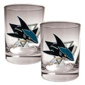 San Jose Sharks 2pc Rocks Glass Set - Primary Logo