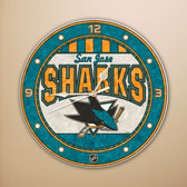 "San Jose Sharks 12"" Art Glass Clock"
