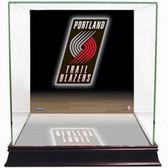 Portland Trail Blazers Logo Background Glass Basketball Display Case