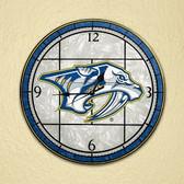 """Nashville Predators 12"""" Art Glass Clock"""