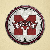 "Mississippi State Bulldogs 12"" Art Glass Clock"