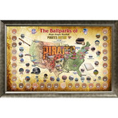 Major League Baseball Parks Map 20x32 Framed Collage w/ Game Used Dirt From 30 Parks - Pirates Version