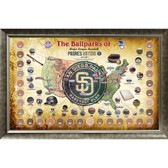 Major League Baseball Parks Map 20x32 Framed Collage w/ Game Used Dirt From 30 Parks - Padres Version