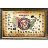 Major League Baseball Parks Map 20x32 Framed Collage w/ Game Used Dirt From 30 Parks - Nationals Version