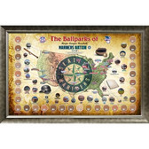 Major League Baseball Parks Map 20x32 Framed Collage w/ Game Used Dirt From 30 Parks - Mariners Version