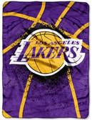 "Los Angeles Lakers 60""x80"" Royal Plush Raschel Throw Blanket - Shadow Play Design"