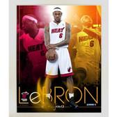LeBron James Miami Heat Team Colors Composite Vertical Framed 11x14 Collage