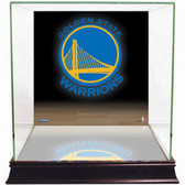 Golden State Warriors Logo Background Glass Basketball Display Case