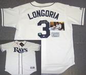 Evan Longoria Hand Signed Rays Authentic White Jersey