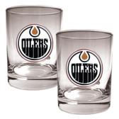 Edmonton Oilers 2pc Rocks Glass Set - Primary Logo