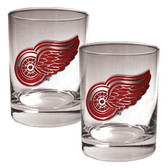 Detroit Red Wings 2pc Rocks Glass Set - Primary Logo