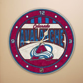 "Colorado Avalanche 12"" Art Glass Clock"