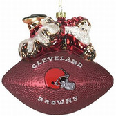 "Cleveland Browns 5 1/2"" Peggy Abrams Glass Football Ornament"