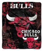 "Chicago Bulls 50""x60"" Royal Plush Raschel Throw Blanket - Drop Down Design"