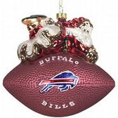 "Buffalo Bills 5 1/2"" Peggy Abrams Glass Football Ornament"