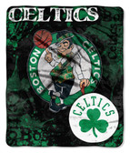 "Boston Celtics 50""x60"" Royal Plush Raschel Throw Blanket - Drop Down Design"