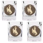 Wyoming Cowboys 4pc Square Shot Glass Set