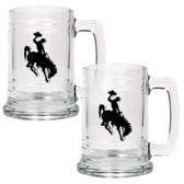 Wyoming Cowboys 2pc Glass Tankard Set