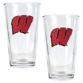 Wisconsin Badgers 2pc Pint Ale Glass Set
