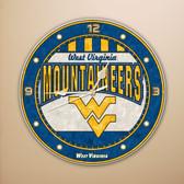 """West Virginia Mountaineers 12"""" Art Glass Clock"""