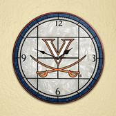 "Virginia Cavaliers 12"" Art Glass Clock"