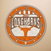 """Texas Longhorns 12"""" Art Glass Clock"""