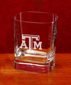 Texas A&M Aggies Deep Etched Square Double Old Fashion Glass