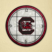 "South Carolina Gamecocks 12"" Art Glass Clock"