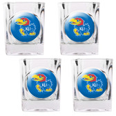 Kansas Jayhawks 4pc Square Shot Glass Set