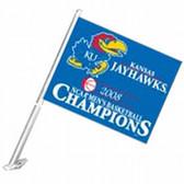 Kansas Jayhawks 2008 National Champions Car Flag