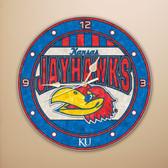 "Kansas Jayhawks 12"" Art Glass Clock"