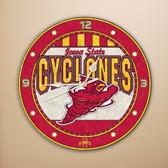 """Iowa State Cyclones 12"""" Art Glass Clock"""