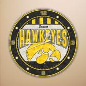 "Iowa Hawkeyes 12"" Art Glass Clock"