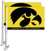 Iowa Hawkeyes   Car Flag w/Wall Bracket Set Of 2