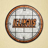 """Illinois Fighting Illini 12"""" Art Glass Clock"""