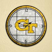 "Georgia Tech Yellow Jackets 12"" Art Glass Clock"
