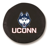 Connecticut Huskies Black Tire Cover, Large