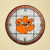 """Clemson Tigers 12"""" Art Glass Clock"""