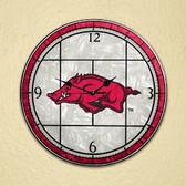 "Arkansas Razorbacks 12"" Art Glass Clock"