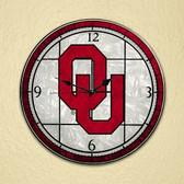 "Oklahoma Sooners 12"" Art Glass Clock"
