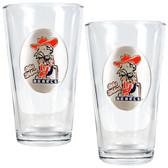 Mississippi Rebels 2pc Pint Ale Glass Set