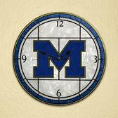 "Michigan Wolverines 12"" Art Glass Clock"