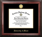 Miami Hurricanes Gold Embossed Diploma Frame