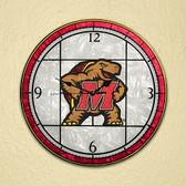 """Maryland Terrapins 12"""" Art Glass Clock"""